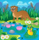 Imagem de tema de fauna de rio 1 — Vetorial Stock