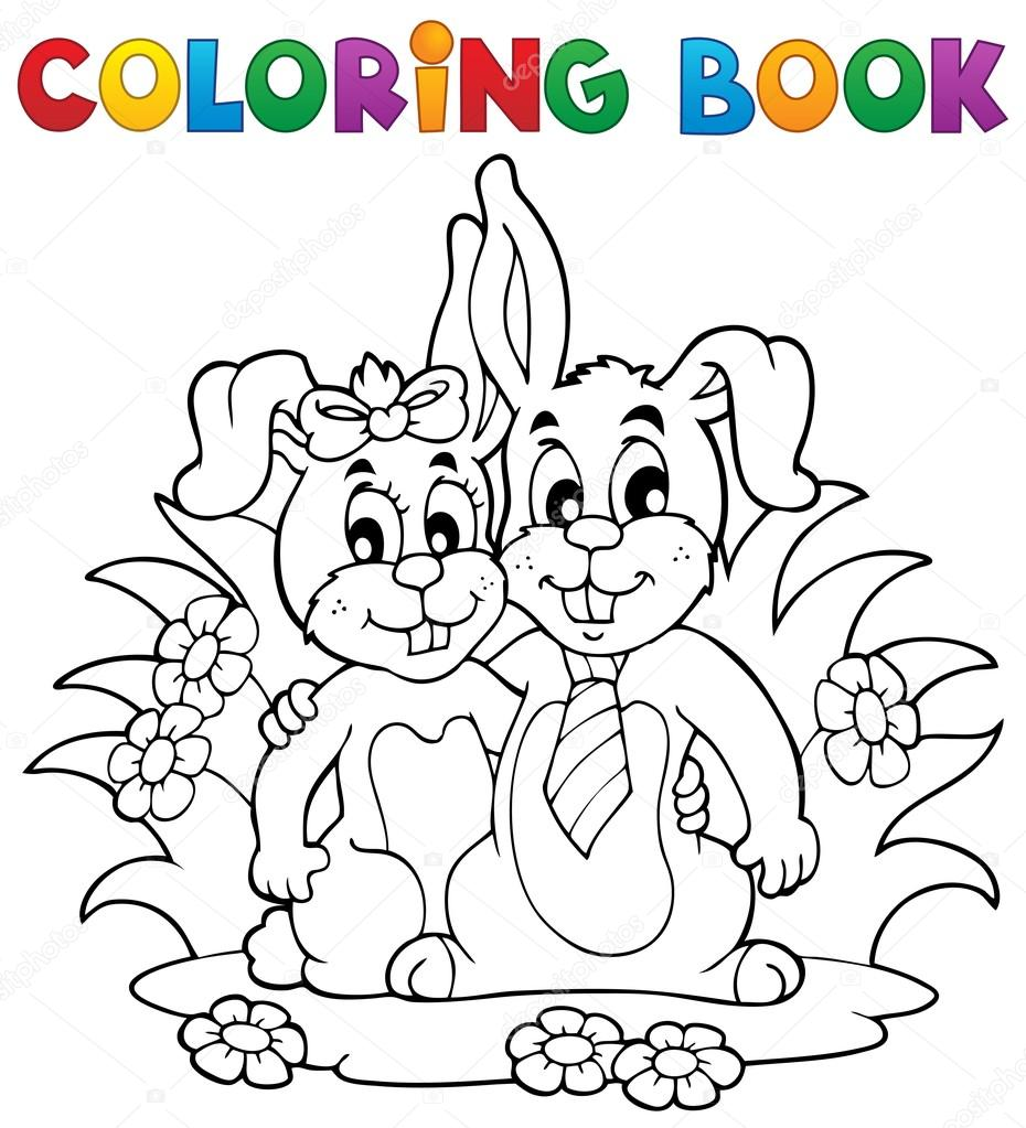 Coloring book rabbit theme 2 - vector illustration. — Stock Vector #18783629