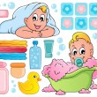 Baby bath theme collection 1 — Stock Vector