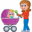 Baby carriage theme image 1 — Stock Vector