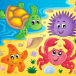 Stock Vector: Beach with shells and sea animals 3