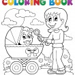 Coloring book baby theme image 2 - Stock Vector