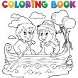 Stock Vector: Coloring book love theme image 1
