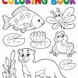 Coloring book river fauna image 1 - Stock Vector