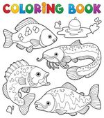 Coloring book freshwater fishes 1 — Stock Vector