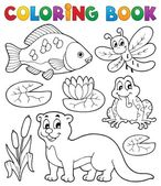 Coloring book river fauna image 1 — Stock Vector