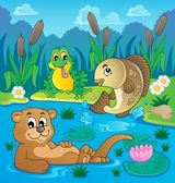 River fauna theme image 2 — Stock Vector