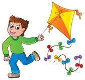 Running boy with kite — Stock Vector