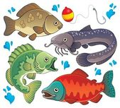 Various freshwater fishes 2 — Stock Vector