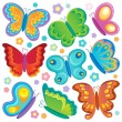 Butterfly theme collection 1 — Stock Vector