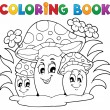 Coloring book mushroom theme 2 — Stock Vector