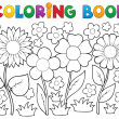 Coloring book with flower theme 2 — Stock Vector