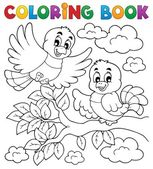 Coloring book bird theme 2 — Stock Vector