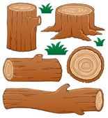 Log theme collection 1 — Stock Vector