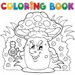 Coloring book mushroom theme 3 — Stockvektor