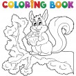 Coloring book squirrel theme 1 — Stock Vector