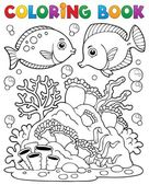 Coloring book coral reef theme 1 — Stock Vector