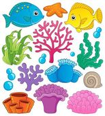 Coral reef theme collection 1 — Stock Vector