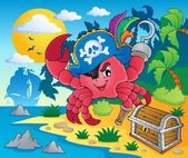 Pirate crab theme image 2 — Stock Vector