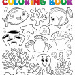 coloring book coral reef theme 2 — Stock Vector