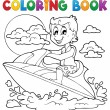 Coloring book water sport theme 2 — Stock Vector