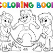 Coloring book kids play theme 1 - Stock Vector