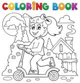 Coloring book kids play theme 2 — Stock Vector