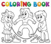 Coloring book kids play theme 1 — Stock Vector