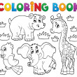 Coloring book African fauna 1 — Stock Vector
