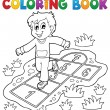 Coloring book kids play theme 4 — Stock Vector