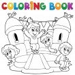 Coloring book kids play theme 5 — Stock Vector