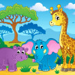 Stock Vector: Cute Africanimals theme image 1