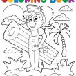Coloring book summer activity 2 — Stock Vector