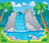 Image with waterfall theme 2 — Stock Vector