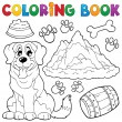 Coloring book dog theme 7 - Stock Vector