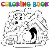 Coloring book dog theme 1 — Stock Vector