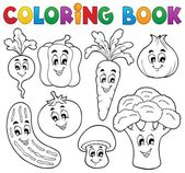 Coloring book vegetable theme 1 — Stock Vector
