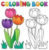 Livre de coloriage avec thème fleur 4 — Vecteur