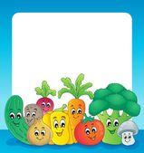 Vegetable theme frame 1 — Stock Vector