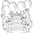 Coloring book kids party theme 2 — Stock Vector #28490169