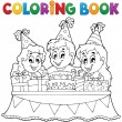 Coloring book kids party theme 1 — Stock Vector