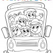Coloring book school bus theme 1 — Stockvektor