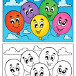 Coloring book balloons theme 1 — Stock Vector