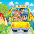 Image with school bus theme 4 — Stockvektor
