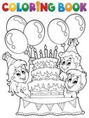 Coloring book kids party theme 2 — Stock Vector