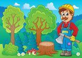 Image with lumberjack theme 2 — Stock Vector