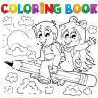 Stock Vector: Coloring book pupil theme 3