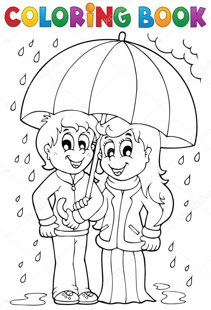 tema de clima lluvioso libro 1 de colorear — Vector stock © clairev #
