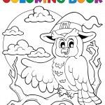 Coloring book Halloween owl 1 — Stock Vector
