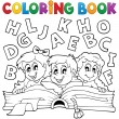 Coloring book kids theme 5 — Stockvectorbeeld